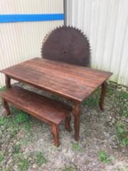 Dark Stained Table and Bench Set